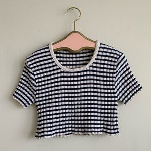 VTG Navy & White Striped Cotton Cropped Sweater
